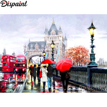"Dispaint Full Square/Round Drill 5D DIY Diamond Painting ""London street scenery"" Embroidery Cross Stitch 5D Home Decor A11042(China)"