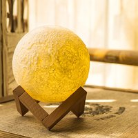 USB Rechargeable 3D Moon Lamp With Base 13CM Vibration Sensing Moon Night Light Bedroom Decor Xmas