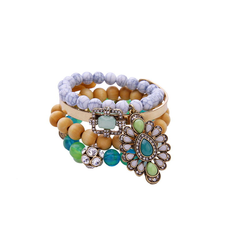 Classical Design Multi Layer Colorful Beads Charm Bracelets Women Fashionable Jewelry Splittable Elastic Bangles Cheap