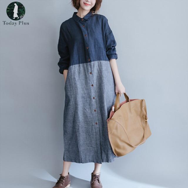 4afdc9bd954 Women Cotton Linen Dress 2018 Spring Autumn Loose Striped Maxi Dresses  Patchwork Long Sleeve Casual Vintage Shirt Dress S-3XL