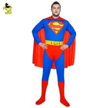 2017 Супер герой Костюмы Человек из стали Супермен Костюм Один кусок Супермен Костюм спандекс темно-синий костюм супергероя косплей