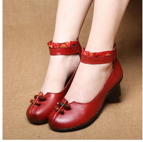 RUSHIMAN Shoes Woman 100% Genuine Leather Women Pumps Lady Leather Round Toe Platform Shallow Mouth Shoes Size 35-41 basic pump