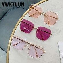 VWKTUUN Sunglasses Women Vintage Oversized Glasses Square Shades Metal Frame Wom