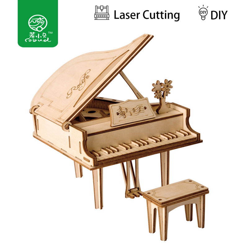 Robud 3D DIY Craft Grand Paino Puzzle Game Wooden Model Building Kits Popular Educational Toys Hobbies Gifts for Children TG402