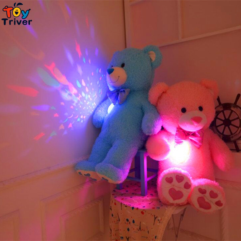 Creative Glowing Luminous LED light projection Projector Pillow Cushion Plush Bear Toy Night Light Stars Doll Baby Children Gift creative mushroom kids gift rainbow colorful led night light boon glowing led lamp with removable balls children sleeping toy