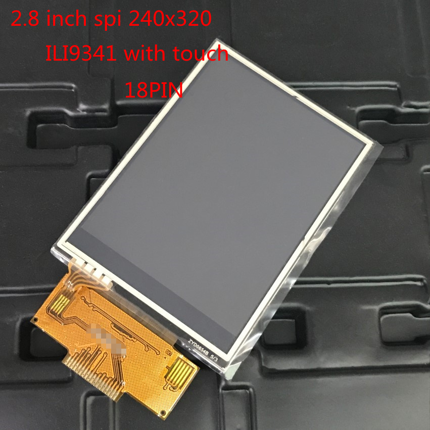 1pcs 2.8 inch TFT LCD Module with Touch Panel ILI9341 Drive IC 240(RGB)*320 SPI serial Interface new display 18 Pins 18pin