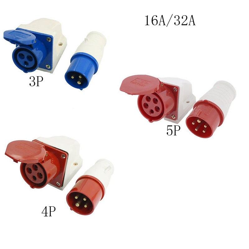 Пластиковый Корпус AC 220-250 В 3 P/4 P/5 P Полюсов 16A/32A Промышленных гнездо SF-113 Красный/Синий 1 Компл.