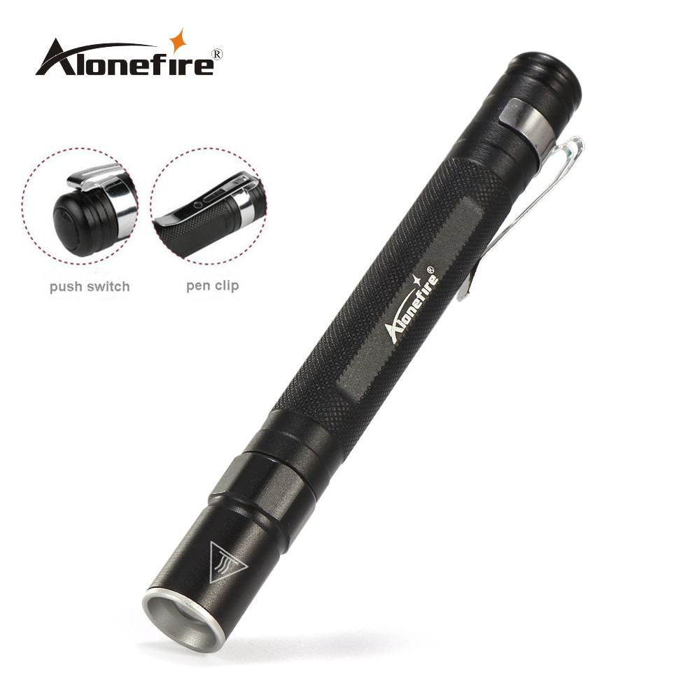 AloneFire MN23 Pen Light Portable Waterproof Mini Zoom LED Flashlight Torch CREE XPE Q5 Led Hunting Camping Lamp For AAA Battery