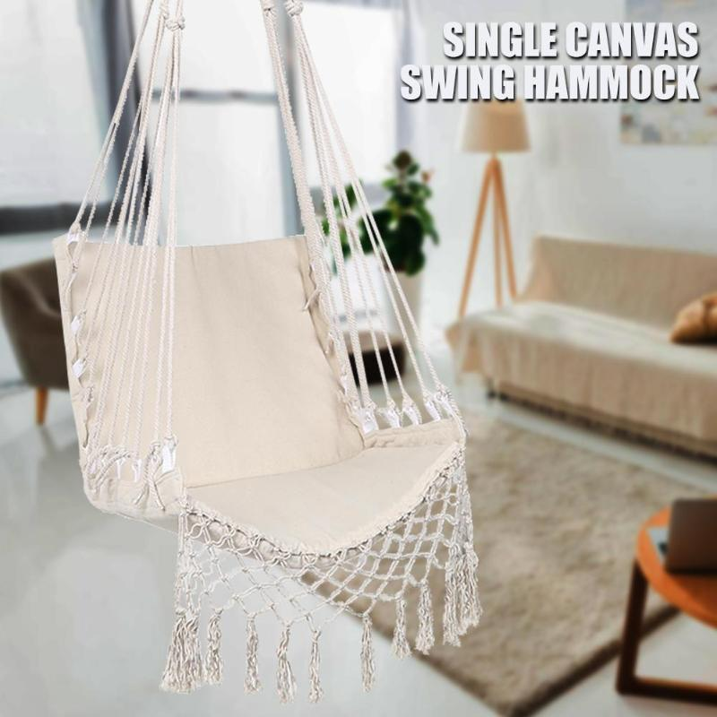 White Hammock Outdoor Indoor Garden Dormitory Bedroom Hanging Chair For Child Adult Swinging Single Safety Hammock