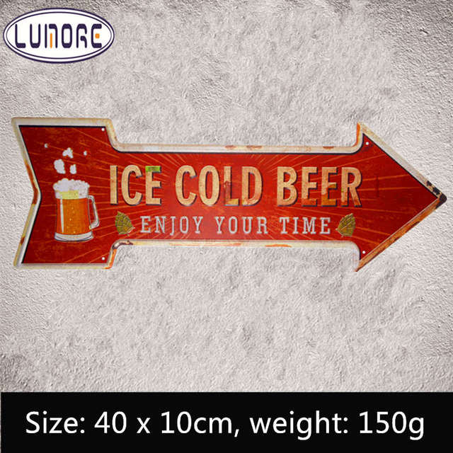 ice cold beer enjoy your time vintage metal arrow signs retro tin