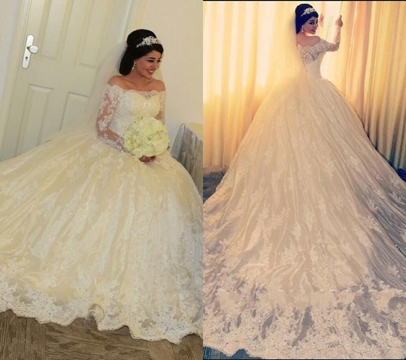 Princess Ball Gowns For Wedding: Robe De Mariage Elegant Lace Long Sleeves Ball Gown