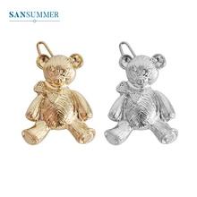 SANSUMMER 2019 New Fashion Hairwear Gold Silver Cute Bear Hair Pin Metal Barrettes Jewelry Trendy Female Accessories 5313