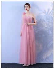 Red Bean Pink Colour Bridesmaid Dress Long  Dress Wedding  One Shoulder Dress Back of Bandage bridesmaid dress wedding dresses elegant red bean pink colour long dress back of bandage
