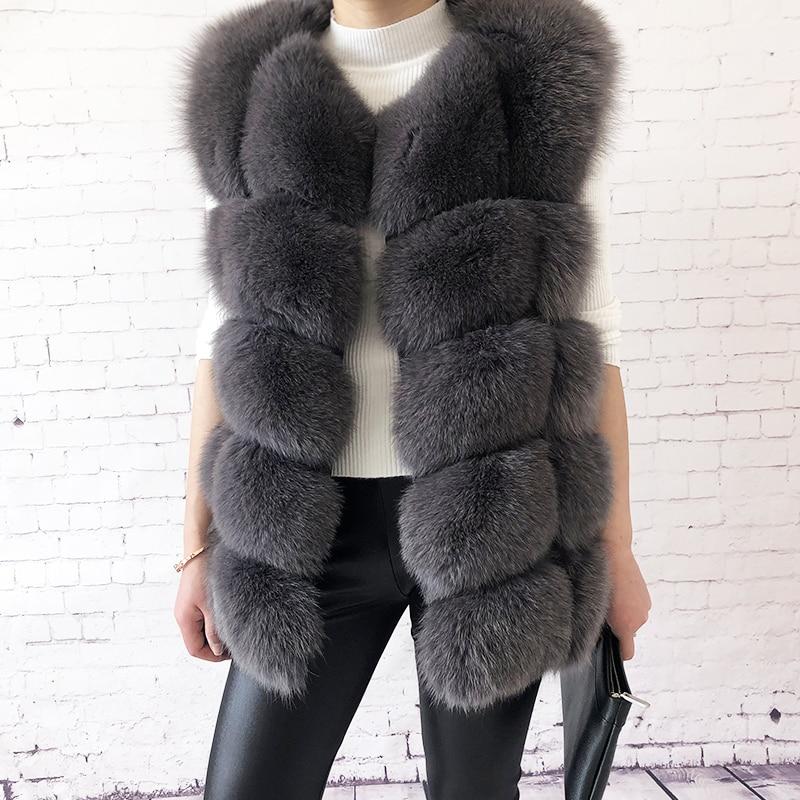 Women s high quality real fox fur vest 100 natural real fur 2019 fashion fur coat
