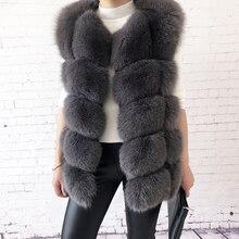 Женский жилет из натурального Лисьего меха высокого качества натуральный мех модное меховое пальто куртка жилет пальто из натуральной кожи