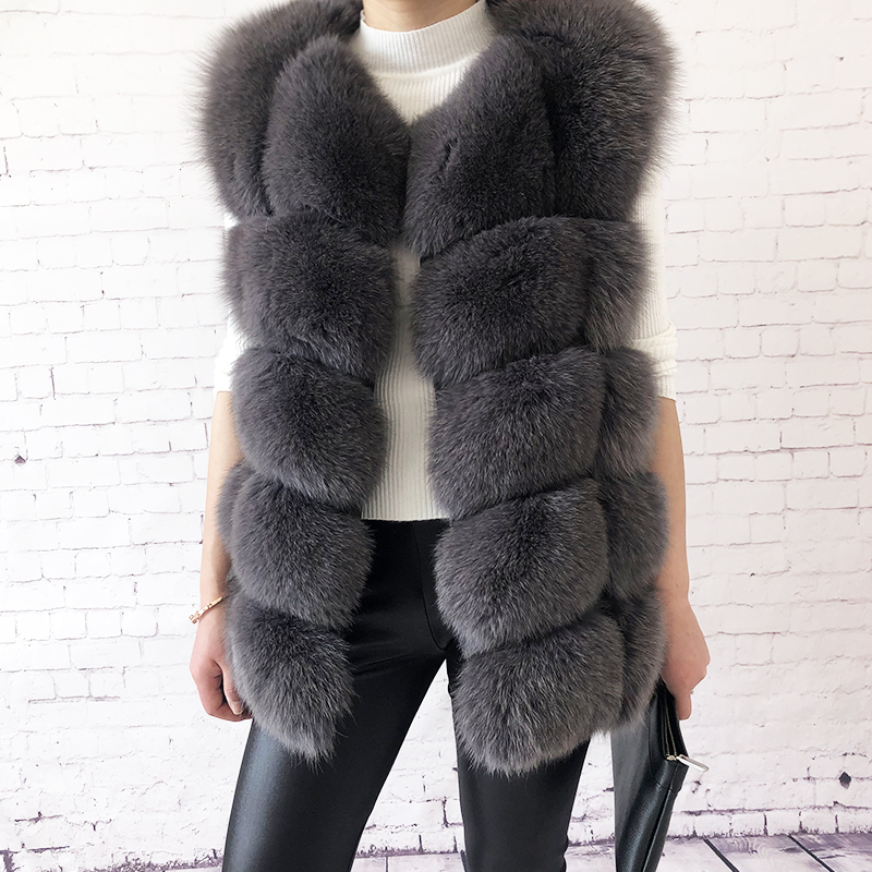 Women's high quality real fox fur vest 100% natural real fur 2019 fashion fur coat jacket vest Genuine Leather coat-in Real Fur from Women's Clothing    1