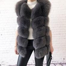 Das mulheres de alta qualidade real pele de raposa colete 100% natural pele real 2019 moda casaco de pele colete de couro genuíno casaco