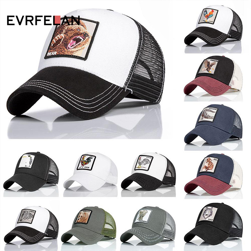 Evrfelan Fashion Unisex Summer Baseball Cap Women Men Animals Embroidery Hip Hop Snapback Hat Cap Casquette Bone Dropshipping(China)