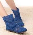 Novo 2015 Primavera e No Verão Das Mulheres De Alta-perna Tricô Oco botas ankle boots mulheres sapatos Multicolor verão