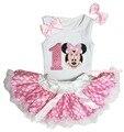 День рождения первый минни маус белый светло-розовый пятна девушки юбки младенца экипировка 3 - 12 м