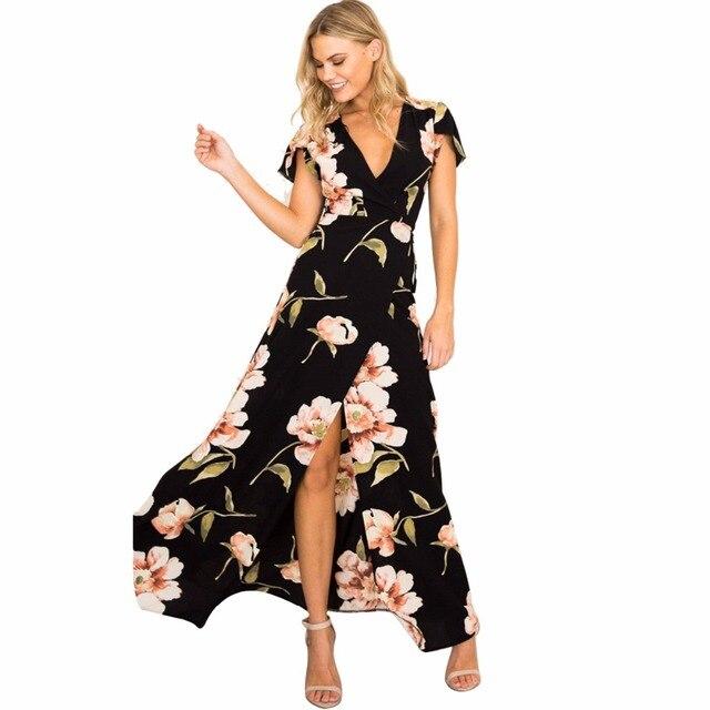 Vestido negro con estampado floral