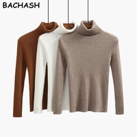 BACHASH High Quality Women Sweater New Turtleneck Pullover Winter Tops Solid Cashmere Sweater Autumn Female Sweater