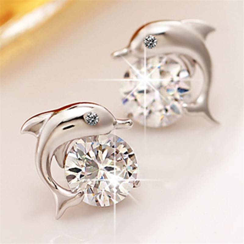 Cute Dolphin Stud Earrings 925 Sterling Silver Rhinestone For Women Lady Party Wedding Jewelry Whole Ear 0076 In From