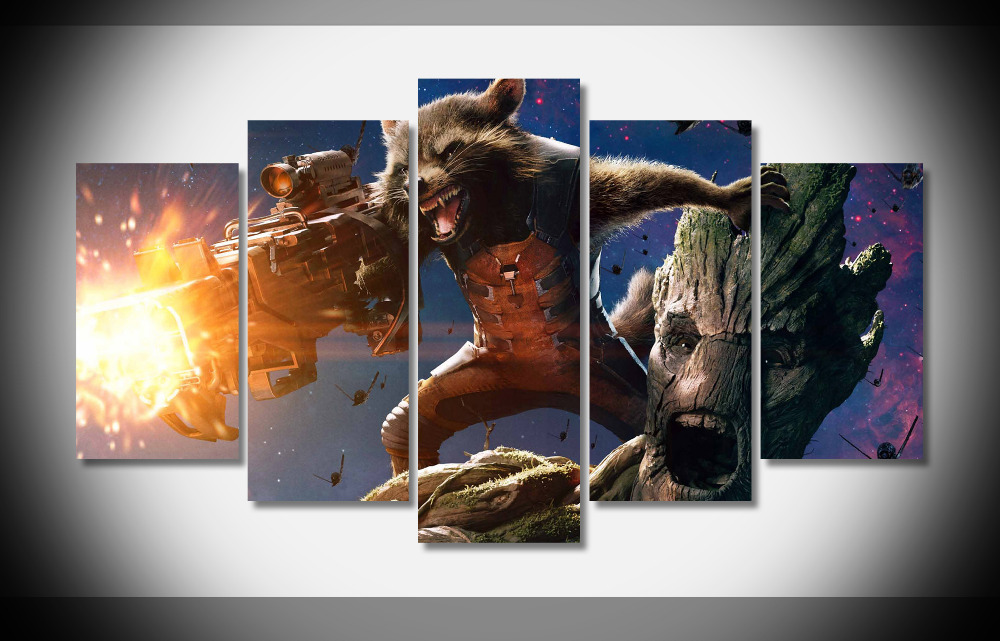 5227 Rocket Raccoon And Groot In Guardians Of The Galaxy Poster Framed Gallery wrap art  ...
