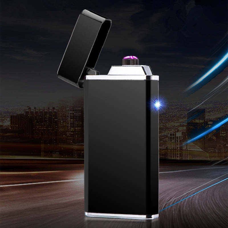 luxury Double Arc Usb Lighter Rechargeable Tobacco Windproof Lighter LED Electronic Cigarette Lighter Men Gifts