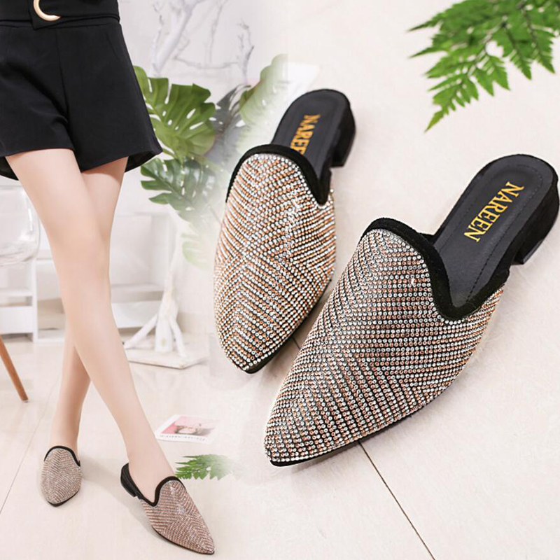 Lady Summer Women Glisten Crystal Rhinestone Fully-jewelled Casual Babouche Pointed Toe Low Heels Half Slipper Mules Slides T682