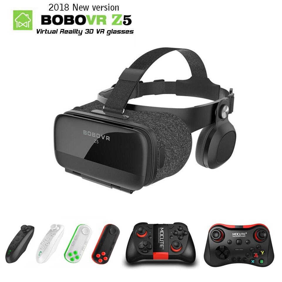 BOBOVR Z5 120 FOV 3D VR Lunettes de Réalité Virtuelle À Distance Android Carton Casque Stéréo Casque Boîte + Gamepad pour Smartphones 2.0