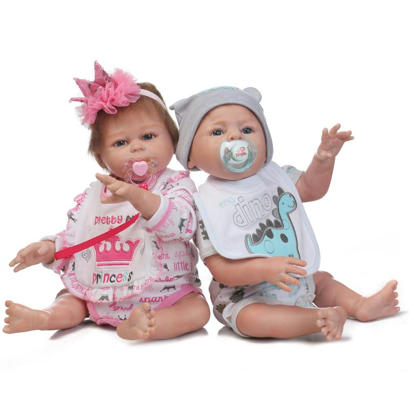 Full Silicone Body Reborn Baby Twins Dolls 22 Inch New