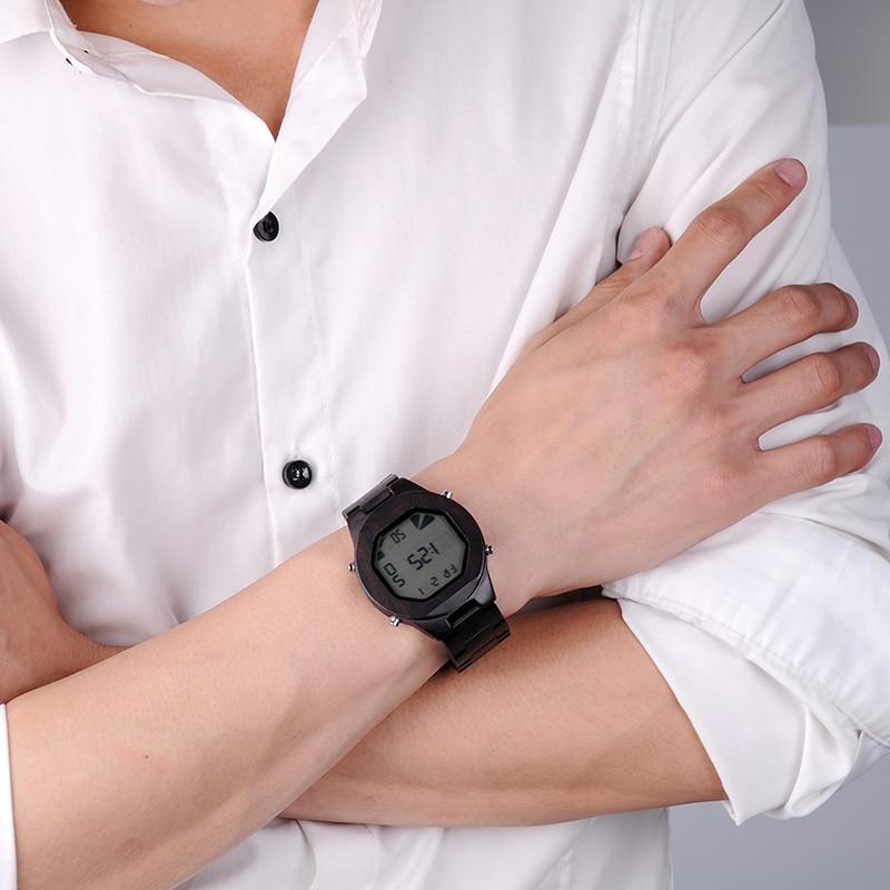 BOBO BIRD Men Bamboo Wooden Watches LED Dial WristWatch Male in Gift Box Custom logo relogio masculino