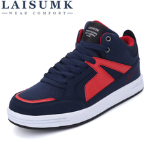 LAISUMK Hot Fashion High Top Sneakers Mens Leather Casual Shoes Men Spring Autumn Ankle Boots Lace Up Loafers Leather Man Shoes цены онлайн