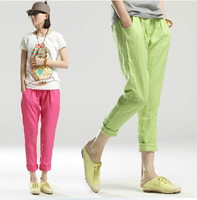 Linen Cotton Candy Colored Elastic Nine Points Big Yards Loose Harem Pants Casual Skinny Pants Seventh
