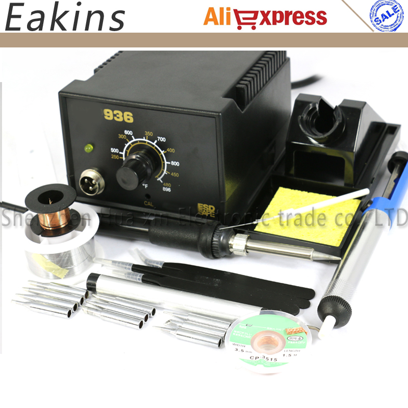 Free Shipping Adjustable Temperature Soldering Station 936 Kits 220V 60W+8 Kind Welding Accessories 110V/220V EU Plug