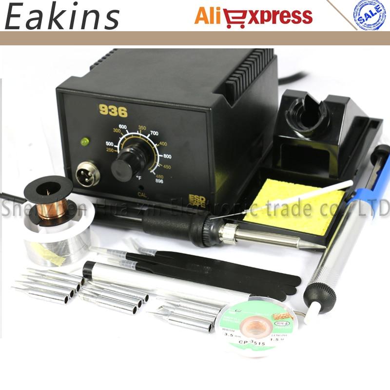 จัดส่งฟรีอุณหภูมิปรับ Soldering Station 936 ชุด 220V 60W + 8 ชนิดเชื่อมอุปกรณ์ 110 V/ 220V EU Plug-ใน สถานีบัดกรี จาก เครื่องมือ บน title=