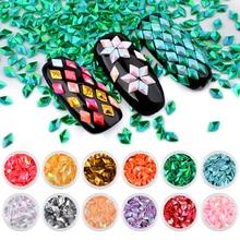12 Pcs Holo Rhombus Paillette Mermaid Unicorn Diamond Nail Glitter Sequins 3d Sparkling Colorful Tips Art Decorations Sets