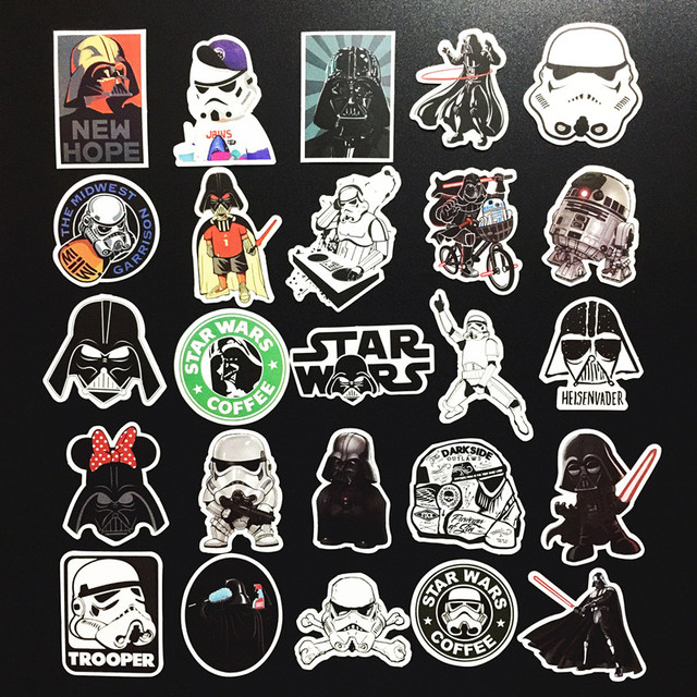 25 pcs Star Wars waterpoof creative notebook sticker for Skateboard on Laptop Luggage Fridge Phone Styling Toy