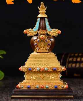 Wholesale Buddhist articles  HOME efficacious Tantric talisman Tibetan Buddhism Gilt dagoba stupa tower Bodhi pagoda statue - DISCOUNT ITEM  7% OFF All Category