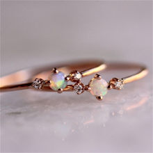 Cheap Rose Gold Color Flowe Zircon Finger Rings White Fire Opal CZ Fashion Party Jewelry for Women Opal Rings bague femme D35(China)