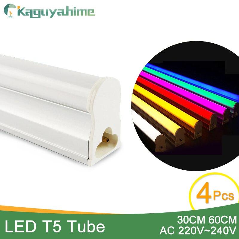 Kaguyahime 4pcs RGB Grow LED Tube T5 LED T8 Tube Lamp 220V 6W 10W Fluorescent Light LED Wall Lamp Red Green Bule Pink 30cm 60cm