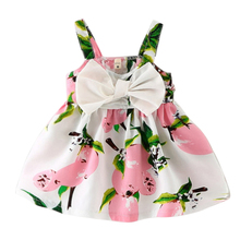 Baby Dress Infant Girl Dresses Print Girls Clothes Korean Version Big Bow Tie Strap Slip Birthday Princess