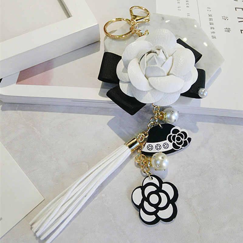 Luxury Bag Black White Woman Keychain Plush Car Camellia Bags key chain