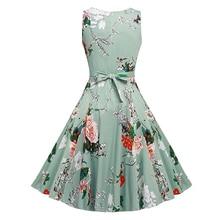 Kostlich Cotton Summer Dress Women 2017 Sleeveless Tunic 50s Vintage Dress Belt Elegant Print Rockabilly Party Dresses Sundress
