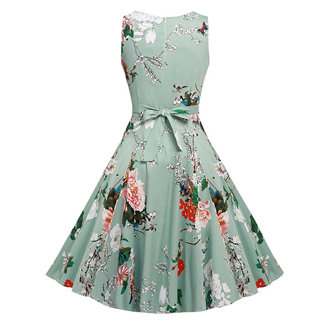 Kostlich Cotton Summer Dress Women 2017 Sleeveless Tunic 50s Vintage Dress Belt Elegant Print Rockabilly Party Dresses Sundress