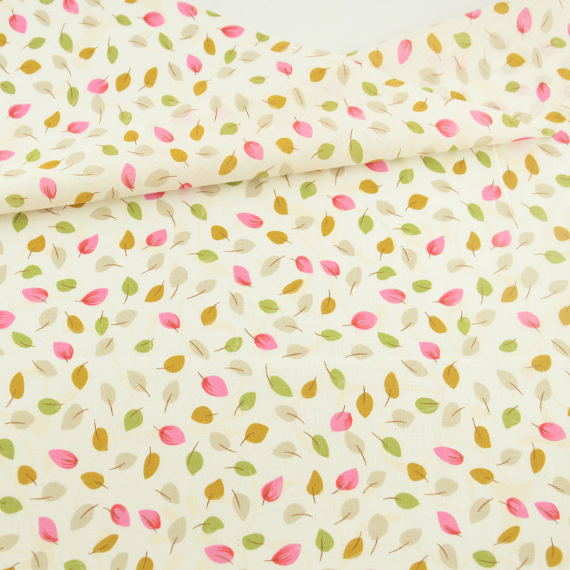 Lovely Leaf Designs 100% Cotton Light Gul Fabric Almindelig Syning Klud Tekstil Kunst Arbejde Patchwork Telas Tecido Tissue Doll's DIY