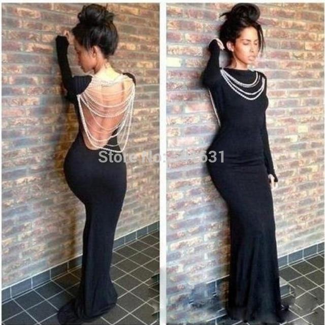2014 lente zomer nieuwe hot selling zwart spandex backless lange mouwen parels avondjurk prom jurken glory sunny