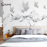 Large Mountain Geometric Flying Bird Wall Stickers for Living Room Bedroom Self adhesive Wallpaper 3d Modern Removable Decor