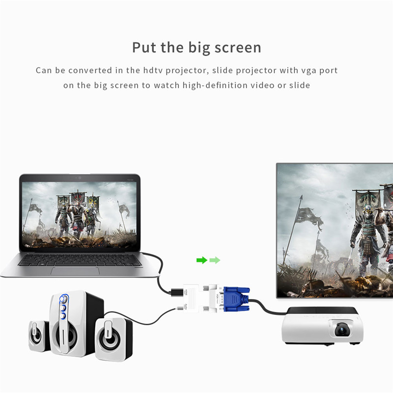 Robotsky 1080P HDMI to VGA Adapter Digital To Analog Audio Video Converter Cable for PC Laptop TV Box Projector